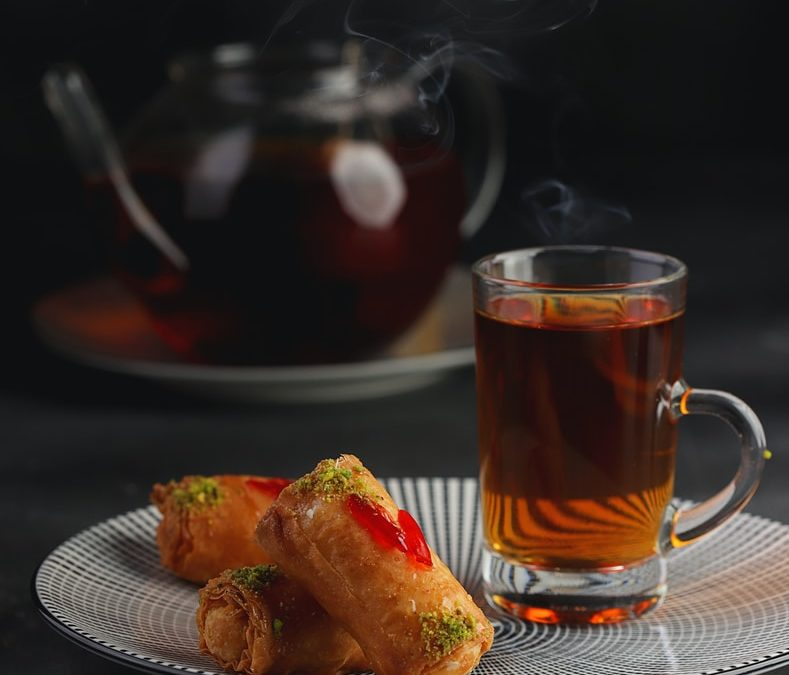 Ramadan clear glass mug with brown liquid inside